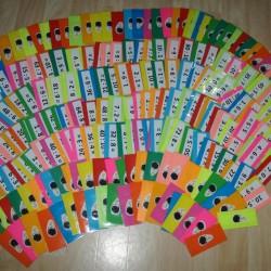 Kartičky do hry Bum - příklady (násobilka)